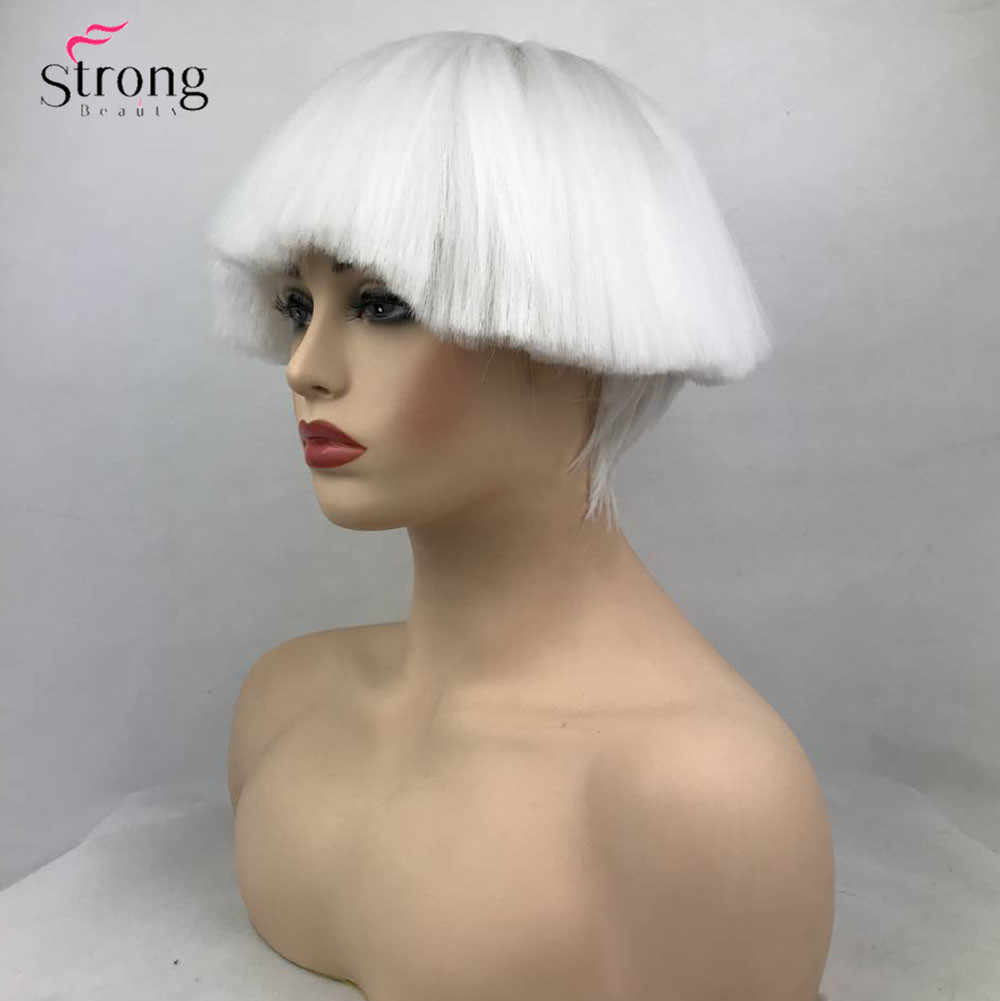 ... StrongBeauty Women s Synthetic Wig Short hair Shroom hairstyle Red Bowl  haircut Blonde White Wigs ... 3997530da
