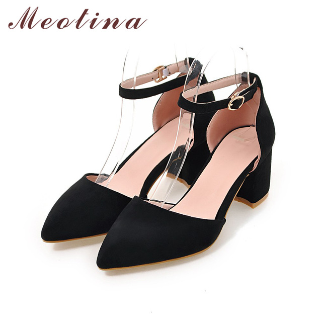 High Heels Women Pumps Two Piece Thick Heels Ladies Party Pink Shoes Summer Buckle Ankle Strap Footwear 4