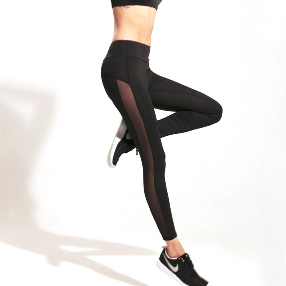 2017 Ladies Running Leggings Sports Pants Women Black Sport Fitness Elastic Quick Drying Mesh Leggings drop shipping