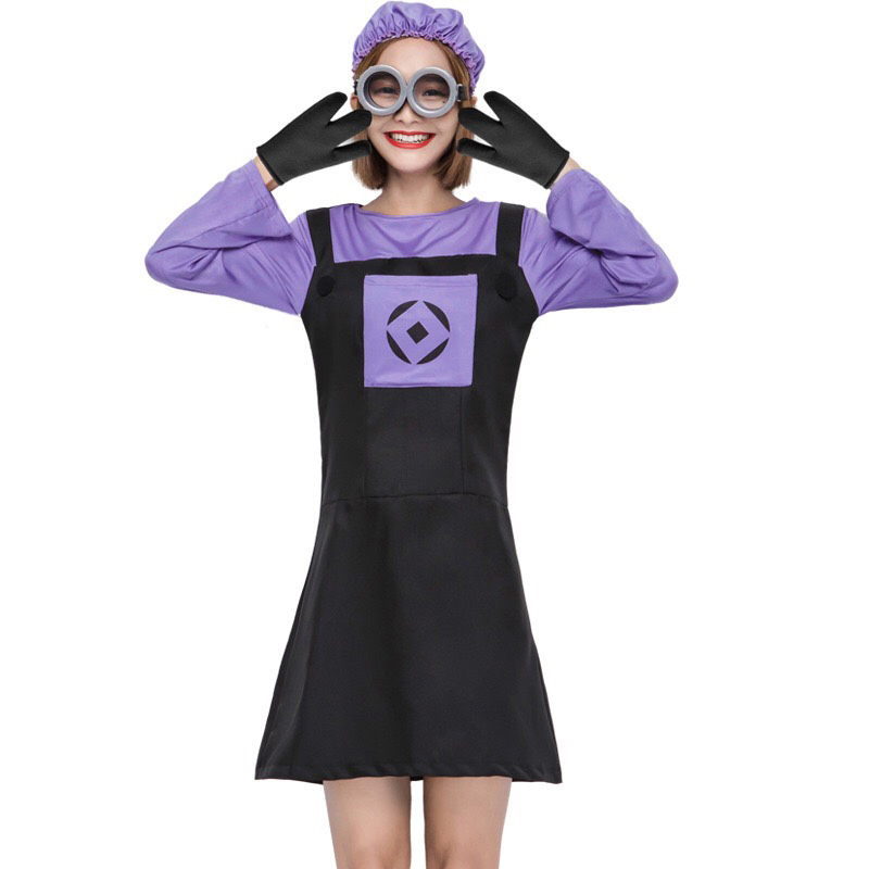 Adult Women Funny Halloween Costume Long Sleeve Purple Flared Dress Cute Minions Cosplay Outfit Fancy Suits For Teen Girls S-L
