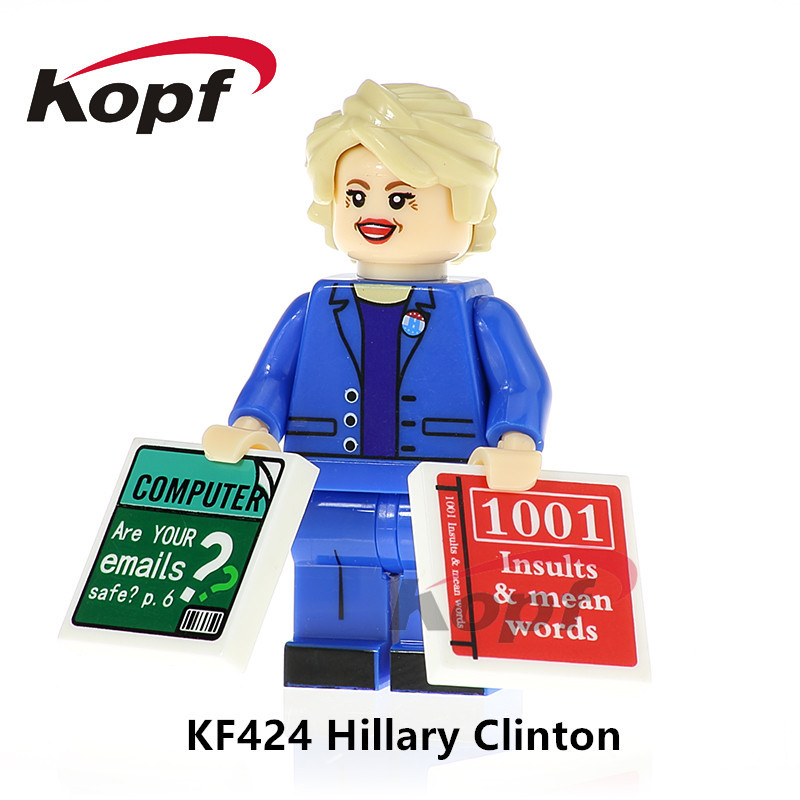 KF424 Single Sale Super Heroes Hillary Clinton Donald Trump Bob Ross Mr.Bean Building Blocks Bricks Collection Toys For Children single sale building blocks super heroes bob ross american painter the joy of painting bricks education toys children gift kf982