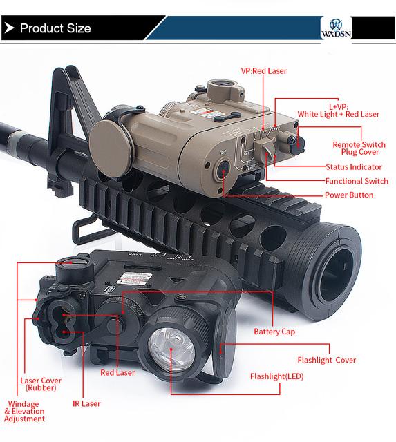 WADSN Airsoft DBAL-D2 iluminator wielofunkcyjna broń światła czerwona kropka laserowy na podczerwień taktyczne latarka ramiona akcesoria myśliwskie tanie i dobre opinie WEX328 Żarówki led Tactical DBAL-D2 Red Laser Laser Sight linterna laser picatinny linternas laser laser para armas wapens arme caza ir light