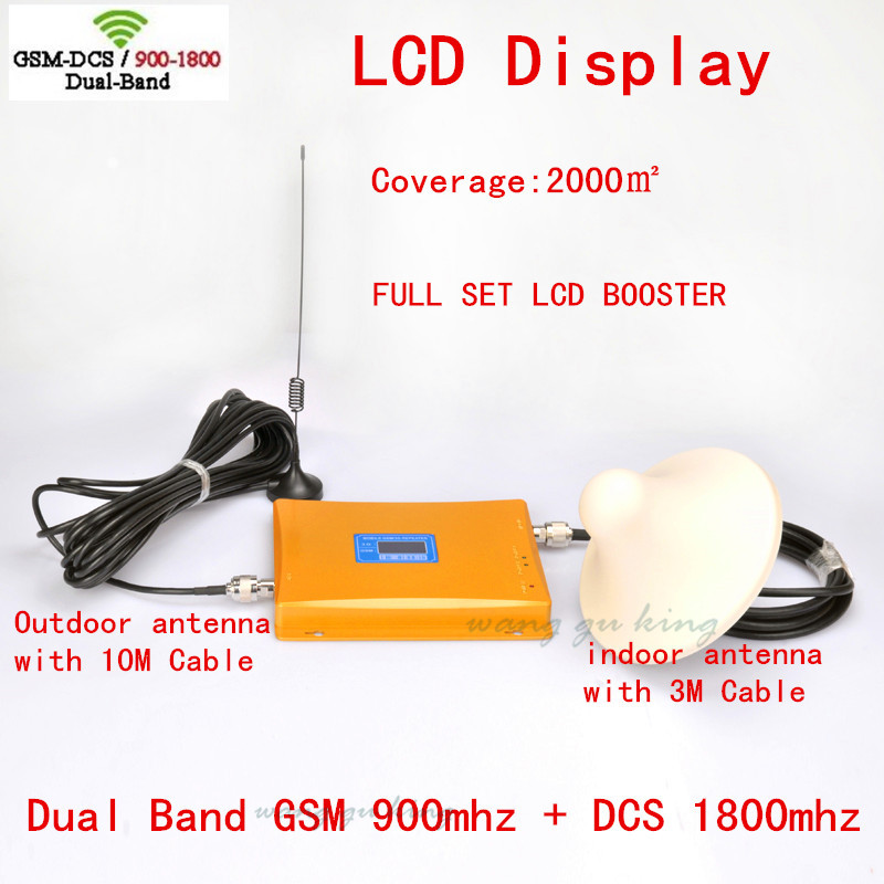 Dual Band 900MHZ + 1800mhz Signal Booster  +indoor Outdoor Antenna +  Antenna +cable GSM Signal Repeater DCS Amplifier