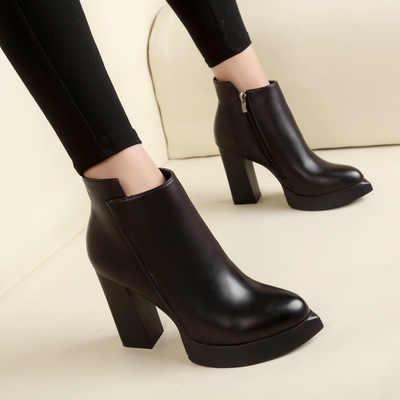 SZSGCN428 kadın Ayak Bileği yağmur çizmeleri Sonbahar Oxford Düz Ayakkabı Kadın Elbise Fermuar Ayakkabı Resmi OL Yüksek Topuklu Bayan Siyah Ayakkabı