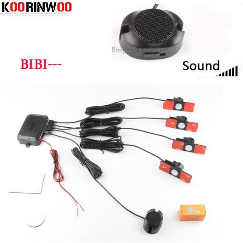 Koorinwoo 4 Sensors Buzzer 16.5mm Car Parking Sensor Kit Reverse Backup Radar Adjust BIBI Speaker Alert Indicator Probe System