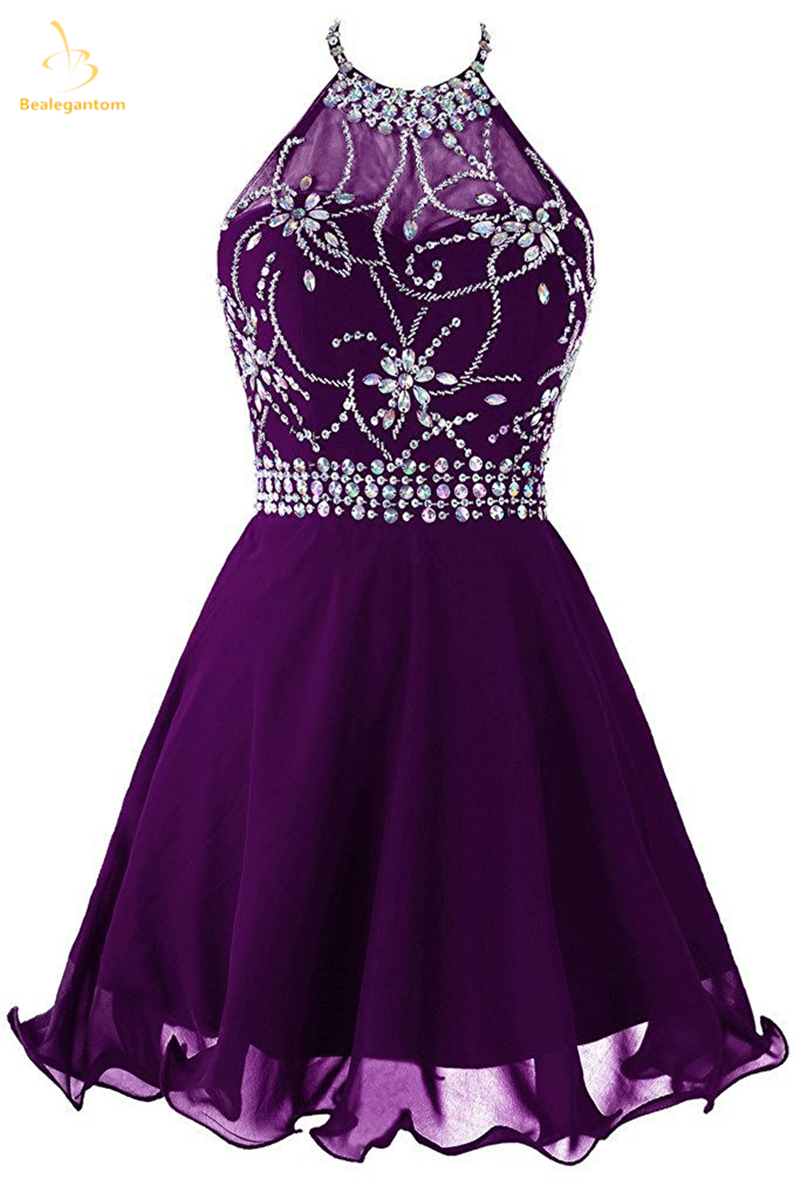 Bealegantom New Sexy Scoop Beads Short Homecoming Dresses 2018 With Beading Prom Party Dresses Graduation Dress QA1450