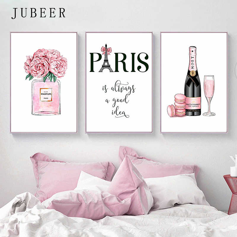 Fashion Art Posters and Prints Champagne Perfume Poster Paris Tower Canvas Painting for Living Room Decoration Pictures