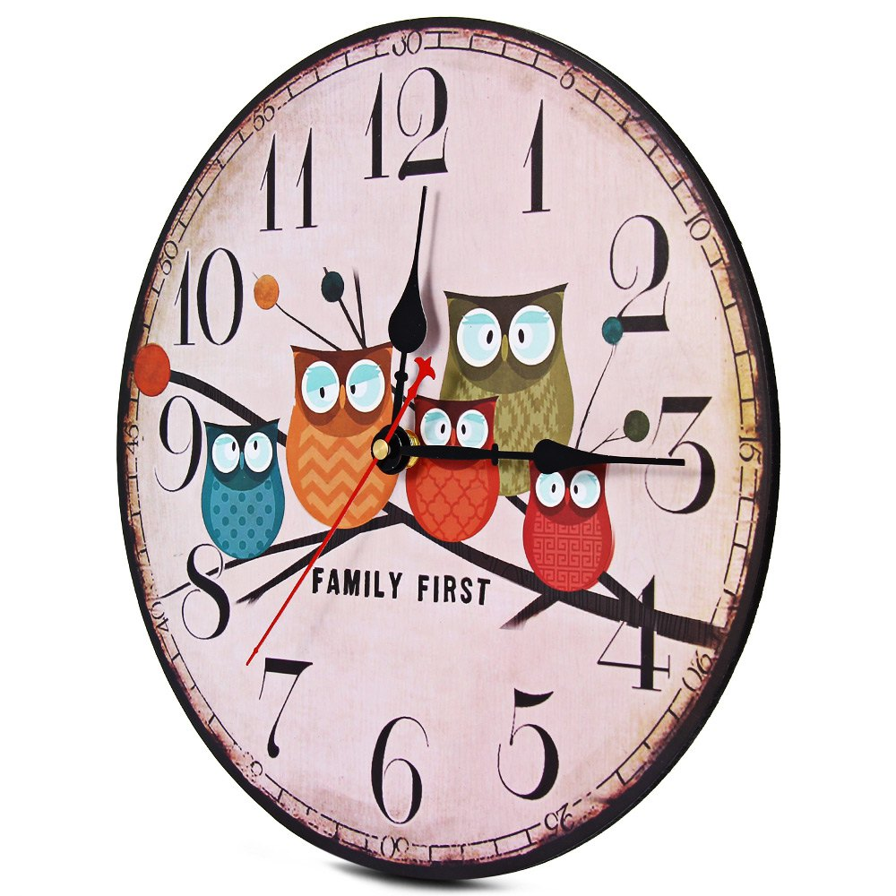 Wall Clock Owl Design : Vintage owl family wall clock free shipping worldwide