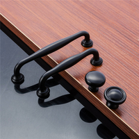 10PCS/Lot Simple Black Alloy Door Konbs and Handles For Wardrobe Cabinet Cupboard Drawer Kitchen Bedroom Furniture Accessories