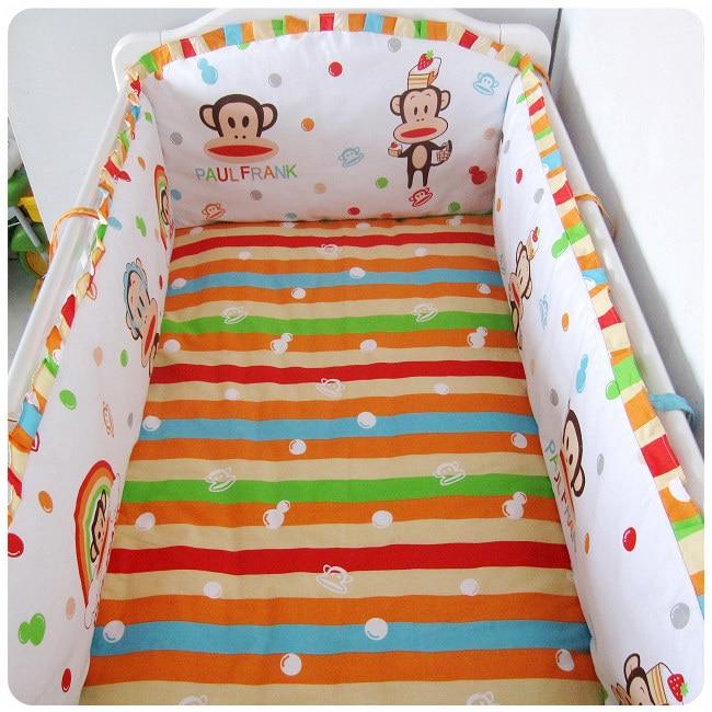 Promotion! 6PCS Crib Baby Bedding Set Boy Animal Design Baby Bedding Set (bumpers+sheet+pillow cover) promotion 6pcs mickey mouse bedding set baby crib bedding set bumpers sheet pillow cover
