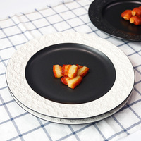 European Emboss Grain Steak Ceramic Dishware Creative Dessert Plate Personality Breakfast Plate