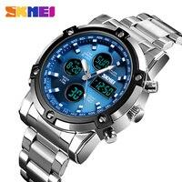 Skmei Blau Top Luxus Marke Voller Stahl Männer Sport Uhren herren Quarz LED Uhr Mann Armee Military Armbanduhr relogio Masculino-in Quarz-Uhren aus Uhren bei