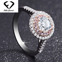 S925 Sliver Round Pink Simulation Diamond Ring for women Peridot Anillos Wedding Bizuteria 925 Rings Gemstone Anel Bague Jewelry