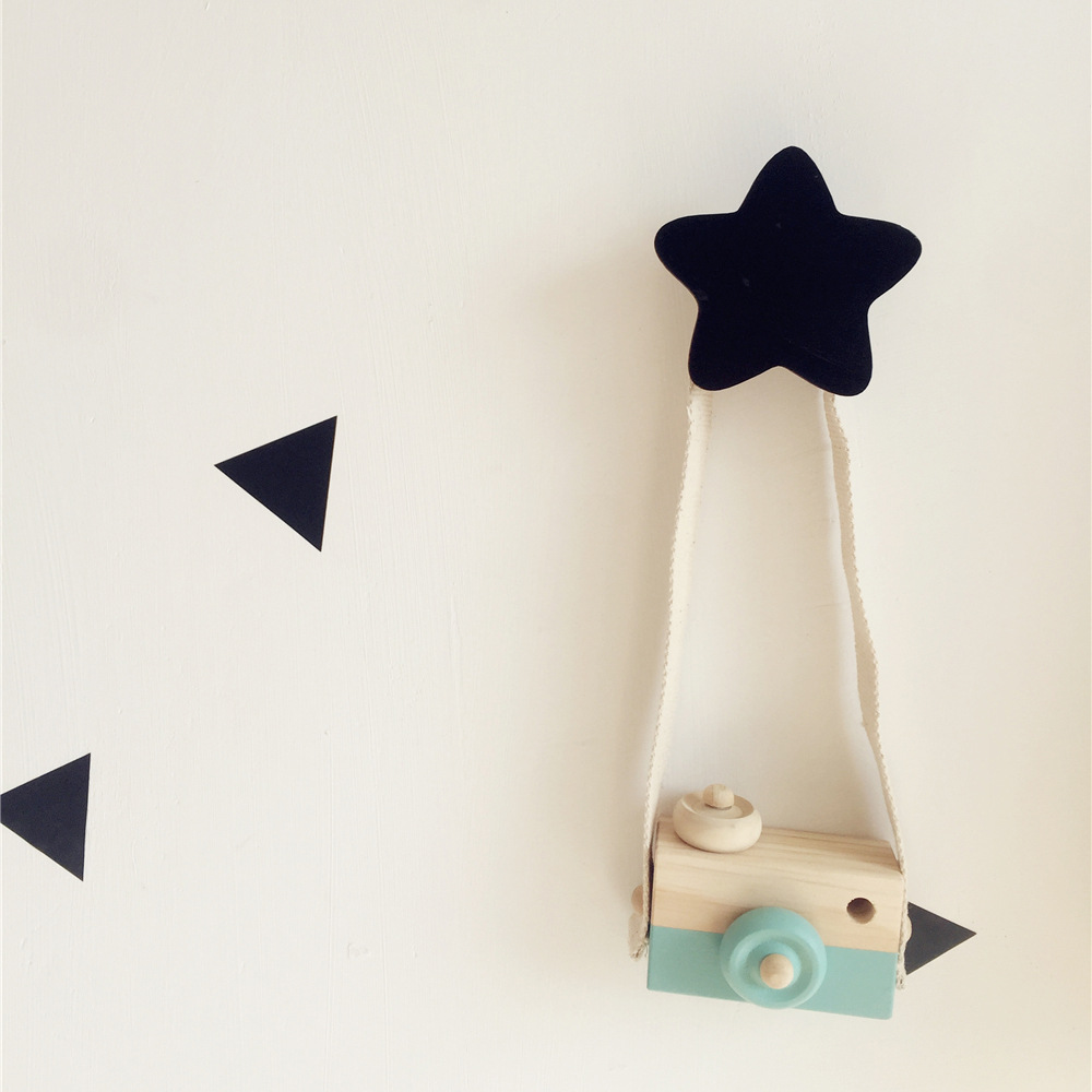 Scandinavian Style Nursery Kids Room Decoration Wall Hook Wooden Star Clothes Rack Black White Pink Blue Clothing Hanger Art INS