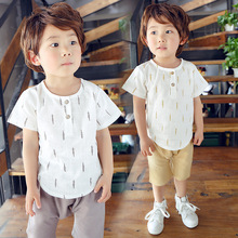 2016 New Kids Clothes Spring Boys Clothing Sets T Shirt + Shorts Toddler Baby Boy Fluid Systems Brand
