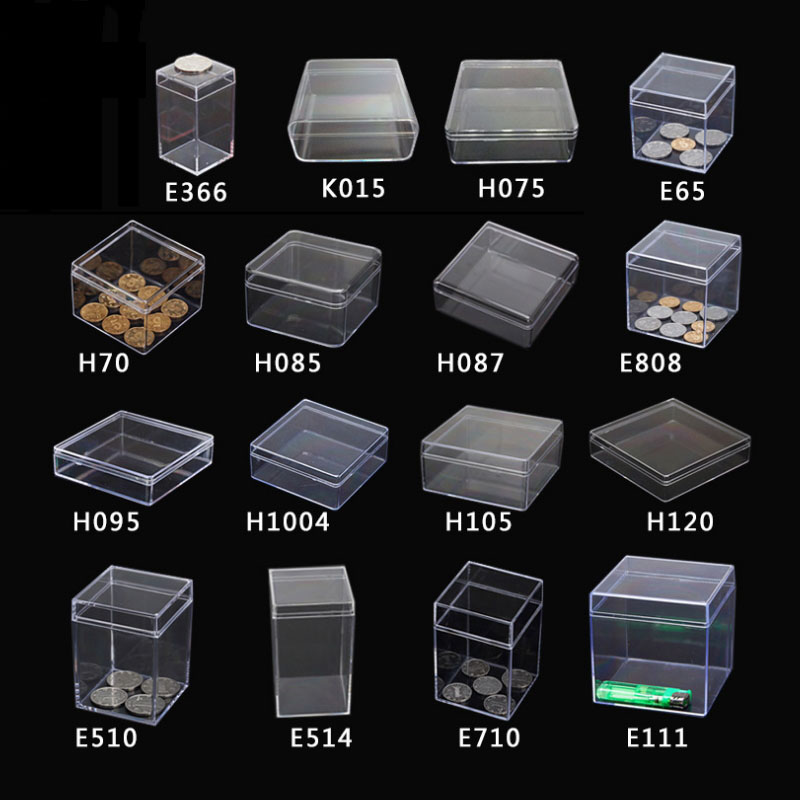 19 Sizes Small Transparent Plastic Box Coin Capsules Case Clear PS Storage Box Candy Tools Packaging Box Beads/Jewelry Gift Box