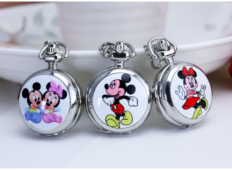 Necklace Quartz boy girl Watch Cute Lovely Cartoons Animal  Mickey minnie High Quality Pocket Fob Watch old antique bronze doctor who theme quartz pendant pocket watch with chain necklace free shipping