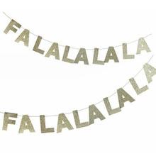 FALALALALA Gold Glitter Banner Christmas Garland Photo Prop Handmade Holiday Decor
