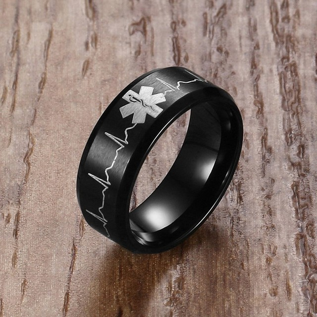 8MM Laser Engraved Heartbeat Medical Symbol Black Wedding Band Rings for Men Sta
