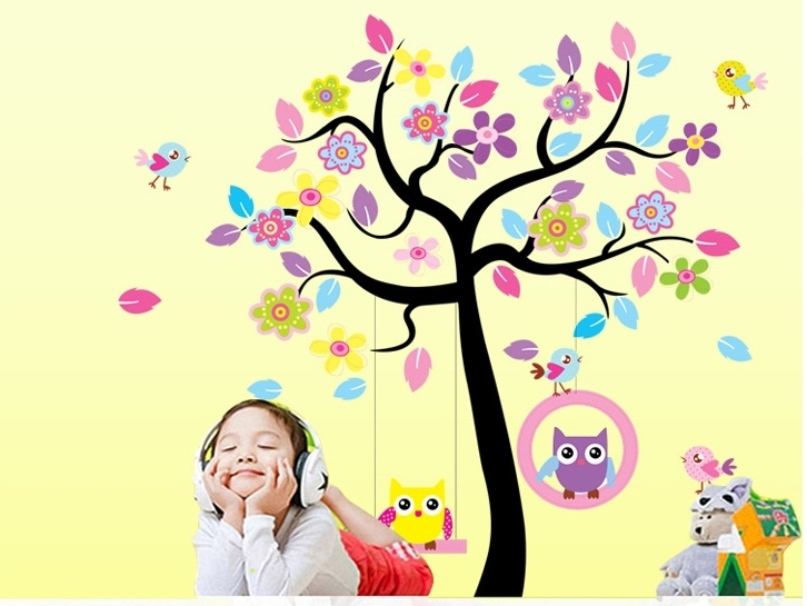 quality dreamlike wall stickers birds tree decals kids cartoon ...