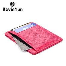 KEVIN YUN Mode mince véritable titulaire de la carte en cuir femmes mini de crédit ID card case pocket