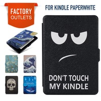 Case For Kindle Paperwhite 2012 2015 K5 Silk Texture Synthetic PU Leather With Built In Magnets