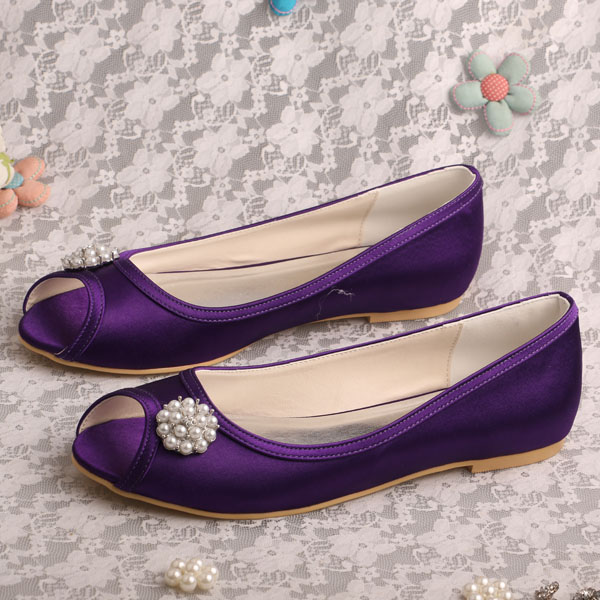 Wedopus Personalized Dressy Purple Satin Flat Ballet Shoes For Wedding Bridal Open Toes Dropshipping