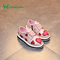 Claladoudou Gilrs Casual Love Heart Shoe For Children Fashion PU Leather Flatform Shoes Girl Brand White Sneaker Pink Kid Shoes