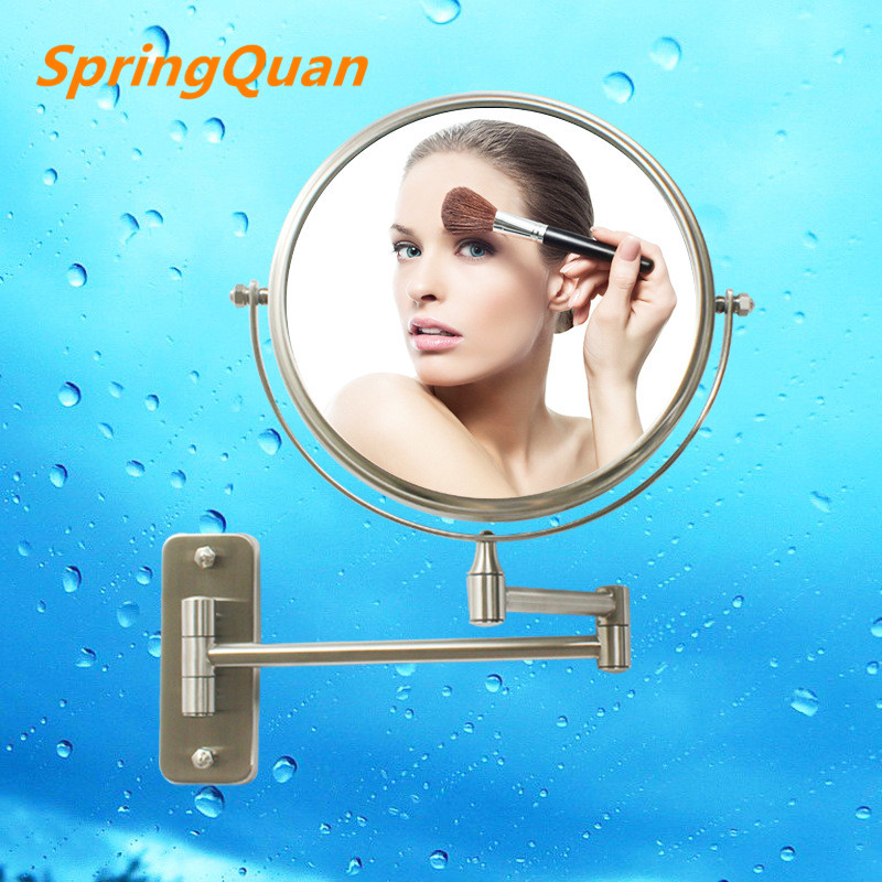 SpringQuan 8 inch high grade 304 stainless steel wire drawing Bathroom mirror Dual Arm E ...