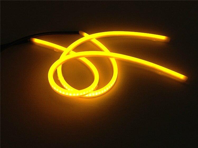 2x 60cm DRL Flexible LED Tube Strip Style Car Headlight Light Amber/White For Toyota RAV4 Land Cruiser Highlander 4Runner Celica