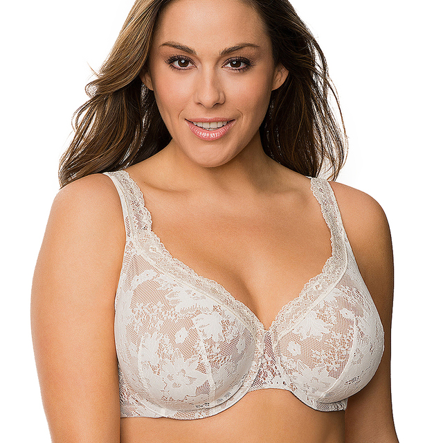b823c7b807d Women s Plus Size Bra Sexy Full Lace Cover Bras For Big Breasted Women BH  Thin Cup