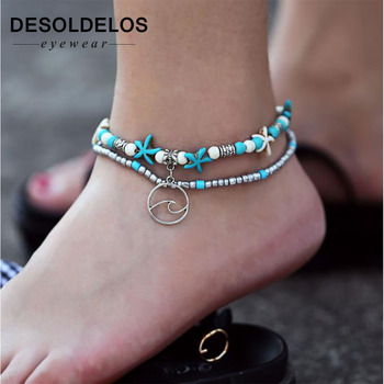 DesolDelos Bohemian Crystal Stone Anklets Double Beach Foot Chain Conch Starfish Alloy Turtle Pendant Leg Bracelet Women Jewelry image