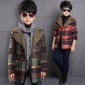 Корейской Зимой мальчик шерстяное пальто плед сгущает мода дети с длинным рукавом длинные шерстяные куртки тепло подросток casual clothing