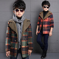 Korean Winter baby boy wool coat plaid thicken fashion children long sleeve long woollen jacket warmth teenager casual clothing