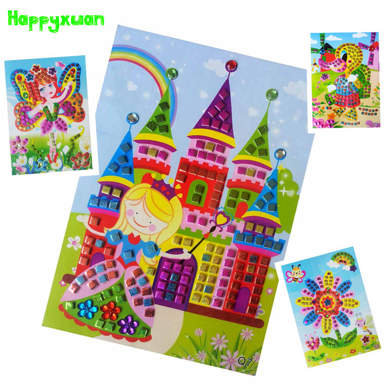 Happyxuan 12pcs lot Mosaic Stickers Puzzle Glitter Eva Kindergarten Baby DIY Art Craft Kit Preschool Children