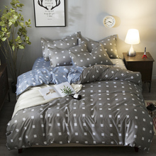 Gray/Blue/White Square Plaid style bed set 4pcs duvet cover bedclothes for Men Boy kids Bedding home hotel bedroom