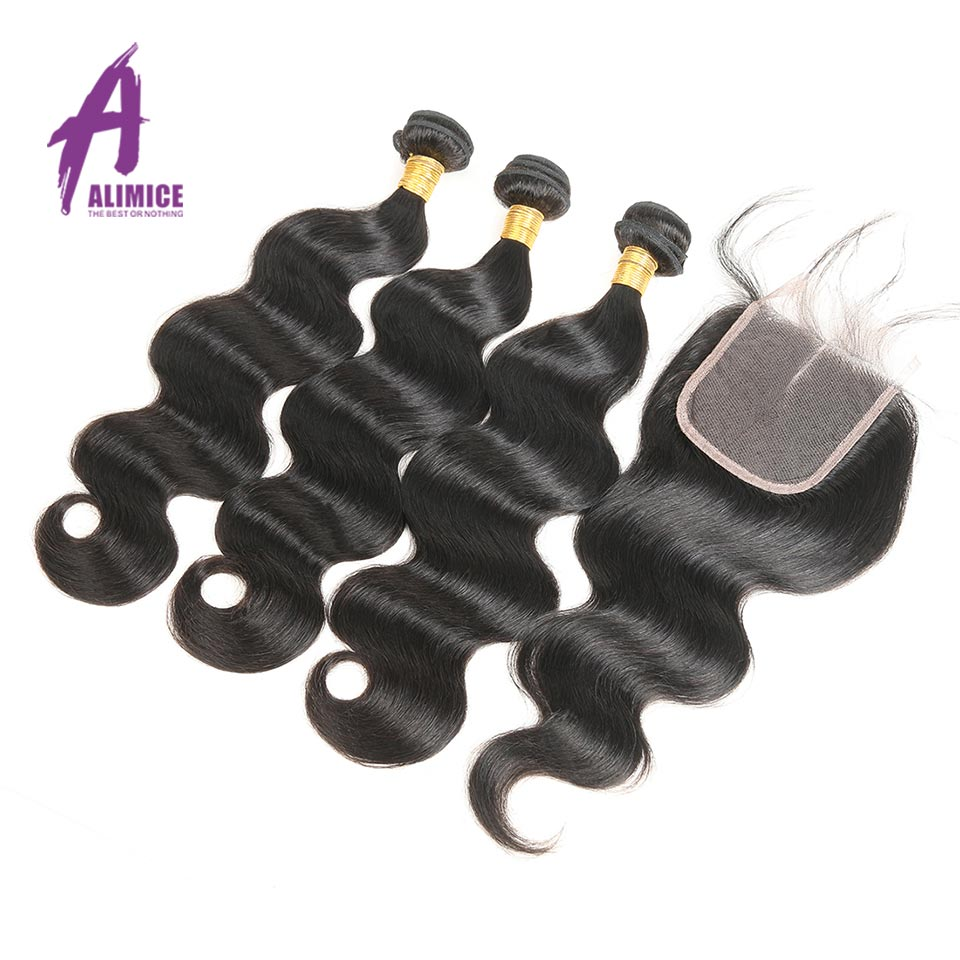 Alimice brasilianske Body Wave 3 Bundles Human Hair Bundles Med - Menneskehår (sort)
