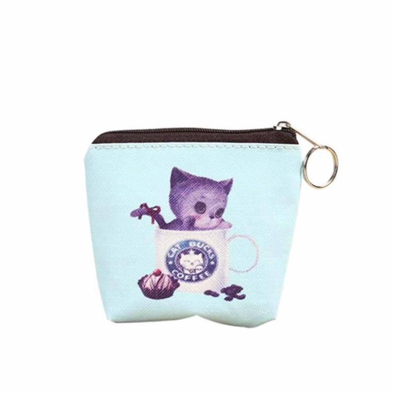 Womens Coin Bags Portable Women Coin Bag Cute Cat Printed Girl PU Leather Zip Coin Purse Key Card Bag Wallet Wholesale A7
