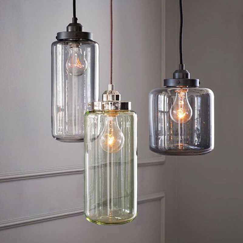 3 lights glass vintage industrial edison bulb pendant light lamp ac90260v lighting fixture for