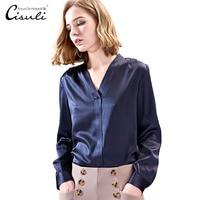 CISULI шелковая рубашка Женская Офисная женская элегантная темно синяя рубашка с длинными рукавами с v образным вырезом
