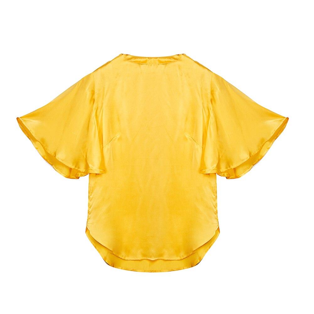 100% Pur Soie Du Mûrier Naturel Blouse D'été Automne Nouveau dans 2018 Tops Femme Kawaii Style Chemise de Femmes De Mode harajuku