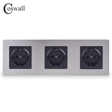 COSWALL Stainless Steel Panel Triple Wall Socket 16A EU Russia Spain Electrical Outlet Silver Black Color Child Protective Door