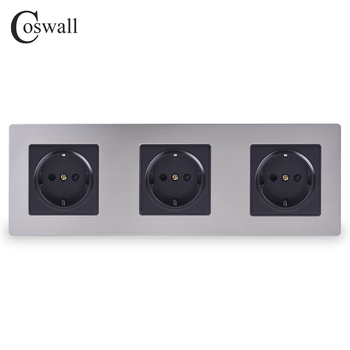 COSWALL Stainless Steel Panel Triple Wall Socket 16A EU Russia Spain Electrical Outlet Silver Black Color Child Protective Door - discount item  34% OFF Electrical Equipment & Supplies