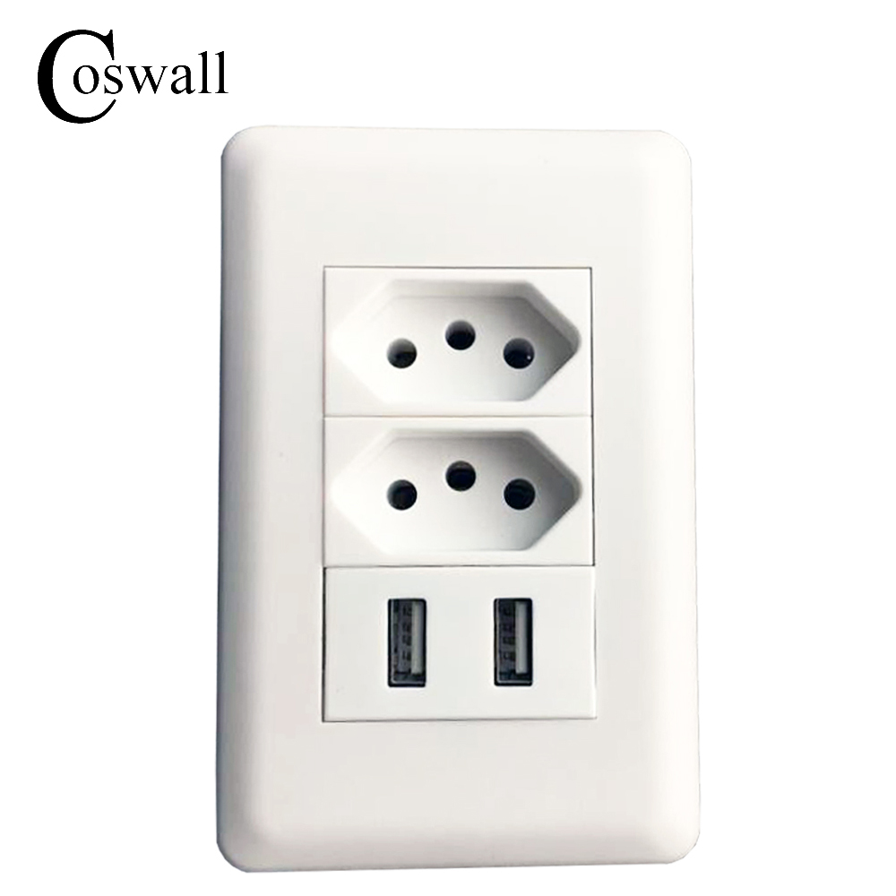 Coswall Wall Power Brazil Socket 15A Brasil Standard Double Soquete 5V 2100mA...