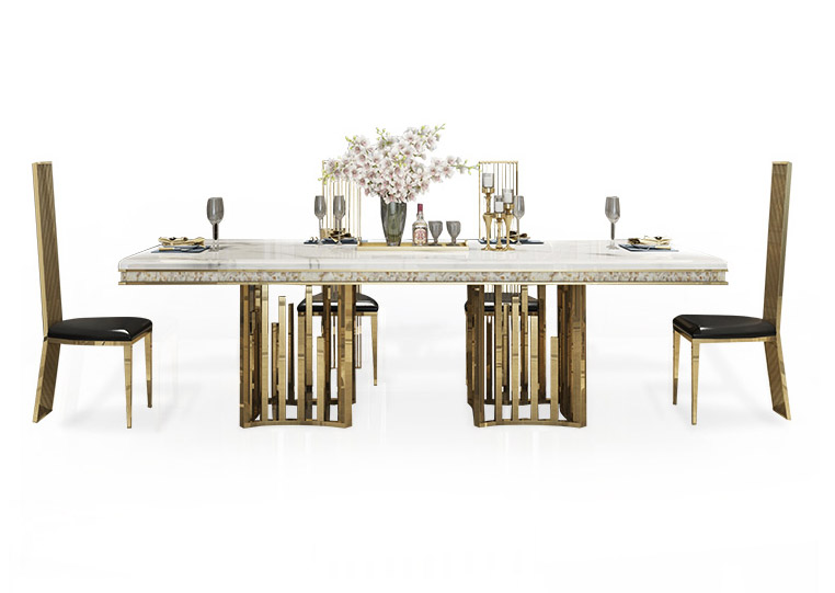 US $1530.0 |Rama Dymasty stainless steel Dining Room Set Home Furniture  modern marble dining table and 8 chairs,rectangle table-in Dining Tables  from ...