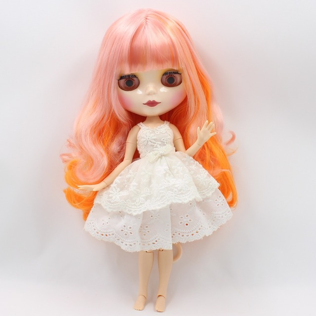 ICY Neo Blythe Doll Pink Orange Hair Jointed Body 30cm