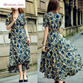 2017 New Arrival summer Women's Clothing V-Neck Fashion Floral Printing Elegant String Brand Slim Sexy Ruffles Long Dress S-L