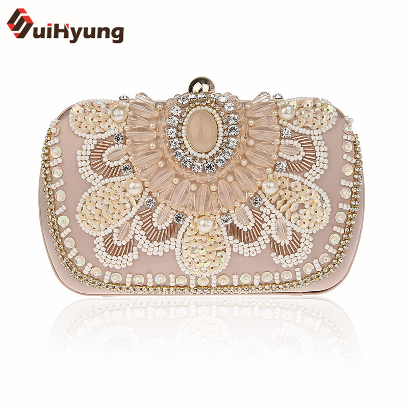 New Fashion Design Women Hangbags Vintage Beading Wedding Small Clutch Bags Ladies Party Evening Bags Purse Female Diamond Bag