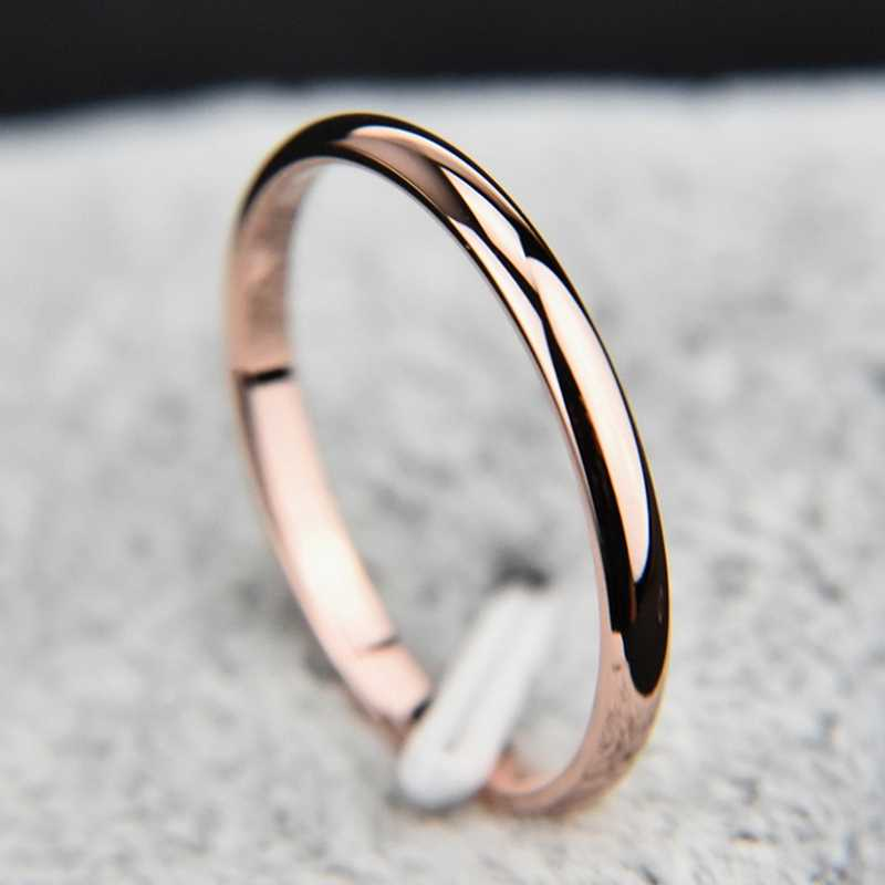 New Arrival Titanium Steel Smooth Simple Wedding Couples Rings Rose Gold  Silver Black Gold Color Ring For Man Woman Gift