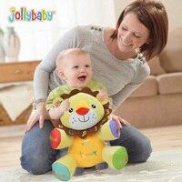 Jollybaby English Chinese Billingual Learning Music Plush Toy Baby Rattle Infant Kids Talking Lion Elephant Doll